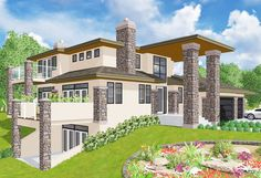 Contemporary Marvel - 81623AB | Contemporary, Northwest, Canadian, 2nd Floor Master Suite, Butler Walk-in Pantry, CAD Available, PDF, Sloping Lot | Architectural Designs