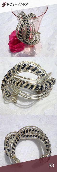 Palm Beach Two Tone Beaded Cuff Bracelet Beautiful two tone cuff bracelet with bead accent Palm Beach Jewelry Bracelets