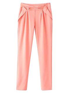 Pink Pleated Detail Harem Pants | Choies