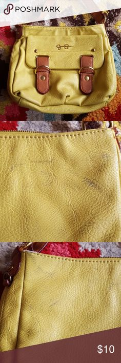Jessica Simpson bright yellow crossbow bag Beautiful yellow leather crossbody. Has marks on back from use as seen in pictures. Jessica Simpson Bags Crossbody Bags