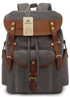 Amazon.com : BLUBOON Vintage Leather Backpacks Mens Canvas Rucksack for School/hiking/sports Fits up to 15.6-inch Laptops (Army green) : Sports & Outdoors