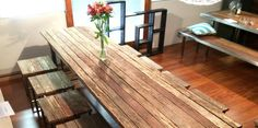 A stunning, reclaimed, hardwood, internal Le Bench dining table. A one off piece that is sure to the focal point of any room Dining Bench, Table Style, Table, Rustic Inspiration, Furniture, House, Dining Table With Bench, Home Decor, Table Furniture