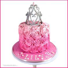 Ombré rose swirl princess cake