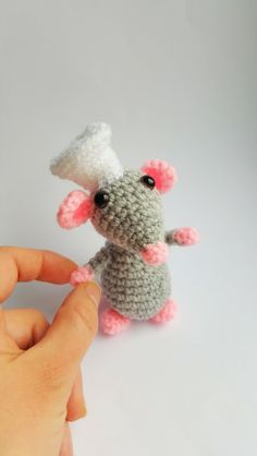 Tiny Mouse Amigurumi Plush, Crochet Rat, Knitted Mouse, Amigurumi Crochet Toy, Cook - Chef Mouse, Handmade Mouse, Knitted Animal