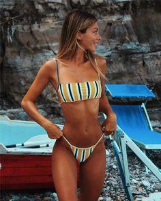 swim suit halter Hirigin Sext Thong Bikini Set Women Swimwear 2019 New Push Up Padded Brazilian Beachwear Biquini Swimsuit Women Bathing Suit - C Stripes S Mädchen In Bikinis, Summer Bikinis, Cute Bikinis, Trendy Bikinis, Brasilianischer Bikini, Sexy Bikini, Bikini Tops, Sporty Bikini, Women Bikini