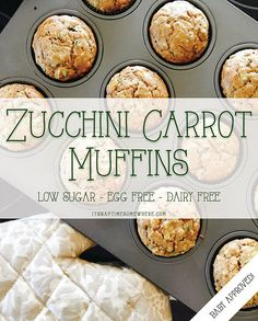 Low sugar, egg free, dairy free zucchini carrot muffins for baby. Yummy muffins are the perfect vessel for hiding healthy veggies for your kiddo! (omit sugar, use oat flour) Egg Free Muffins, Toddler Muffins, Baby Muffins, Muffins For Babies, Muffins For Toddlers, Clean Eating Snacks, Healthy Snacks, Healthy Recipes, Kid Snacks