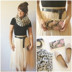 LOVE the flowy skirt with the tighter shirt and the scarf.  And that clutch!  How pretty!  Idk if I can pull the clutch off, but the rest of the outfit is already in my closet :-)