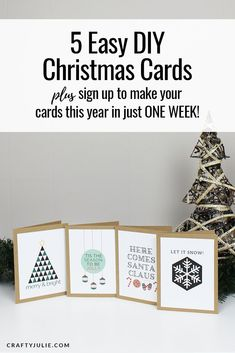 Learn how to make these cards plus 4 other styles that are quick and easy DIY Christmas Cards. As a bonus, you can also sign up for a FREE email course that teaches you how to make this exact set of Christmas Cards in just 7 days! #christmascards #diy #scrapbooking via @craftyjulienow Christmas Craft Projects, Diy Christmas Cards, Holiday Cards, Diy Projects, Free Email, Plus 4, Scrapbooking Layouts, Easy Diy, Merry
