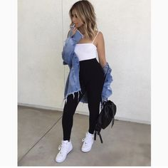 How to wear nike shoes with jeans air force 40 Ideas - outfits - Legging Outfits, Nike Outfits, Jean Jacket Outfits, Summer Outfits Women, Outfits For Teens, Trendy Outfits, Fall Outfits, School Outfits, Fashion Outfits