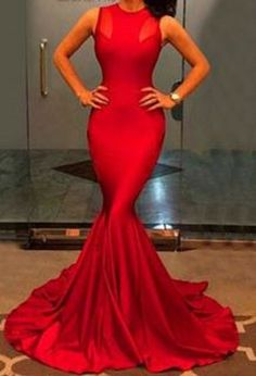 Elegant Red Jewel Neck Sleeveless Solid Color Bodycon Women's Maxi Dress #Red #Maxi #Dress #Sexy #BodyCon #Fashion