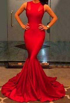 Elegant Red Jewel Neck Sleeveless Solid Color Bodycon Women's Maxi Dress #Red #Maxi #Dress #Sexy #BodyCon #Fashion