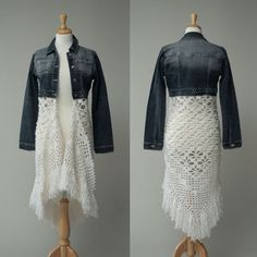 Women's repurposed jean jacket crochet skirt by redeuxclothing