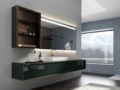 Móvel lavatório suspenso de vidro lacado com gavetas