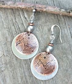 Silver and copper earrings, mixed metal jewelry, etched copper earrings