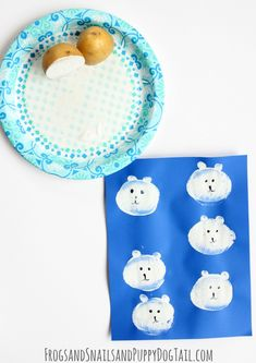 potato print art polar bears for kids on FSPDT
