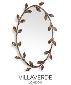 FOLIAGE Oval Mirror designed by Claudio Marco exclusively for VILLAVERDE - Available in various sizes and metal finishes