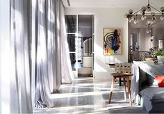 Great space! Love the airy, light-filled feel of it and the fab drapes! KerryPhelan - desire to inspire - desiretoinspire.net
