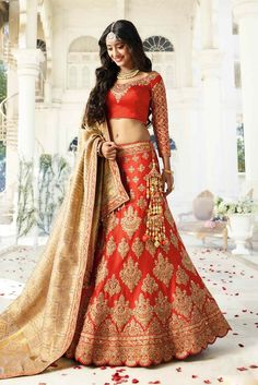 Lehenga for NRI Brides BOLLYWOOD STYLE ORANGE DESIGNER WEAR LEHENGA BLOUSE FOR N.R.I BRIDES