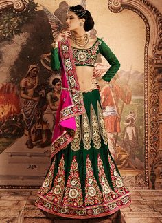 Emerald Green and Rani Pink Lehenga Style Saree Lehenga Style Saree, Pink Lehenga, Anarkali, Sarees Online India, Lehenga Choli Online, Saree Collection, Bridal Collection, Wedding Lehnga, Bridal Lehenga