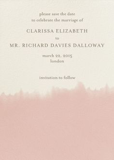 """""""Dip Dye - Antique Pink"""" Save the Date, Paperless Post"""