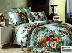 Flower and Butterfly 4 Piece Bedding Set New Style Tops, Bed Sheets, Home And Living, Comforters, Floral Prints, Blanket, Modern, Cotton, Bedding