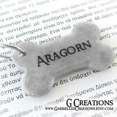 Beautiful bone shaped ID tag inspired by Lord of the Rings. Custom color & personalized with your info or short message!