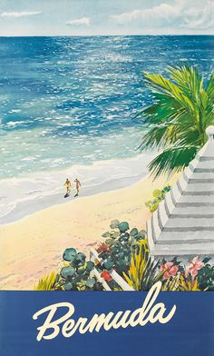 Bermuda Date Unknown Somehow, the beaches of Bermuda look even nicer in this vintage poster than they do in today's modern photography. A sneak peek from Vintage Posters, August 2012 Vintage Travel Posters, Vintage Postcards, Vintage Ads, Vintage Metal, Bermuda Travel, Beach Travel, Tourism Poster, Travel Ads, Cool Posters