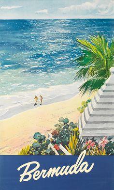 Vintage ad / beach travel poster,  Bermuda.