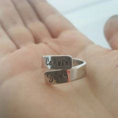 Love our custom name wrap rings! Lots and lots of ring styles to chose from! Custom name ring by DreamWillowStudio on Etsy