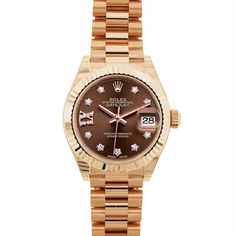 Rose Gold 28mm Rolex with a Splash of Diamonds