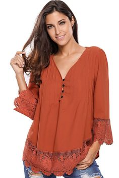 Brown Lace Detail Button Up Sleeved Blouse https://www.modeshe.com