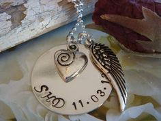 Special Date Necklace with Angel Wing and Heart by thewritedesign, $38.00