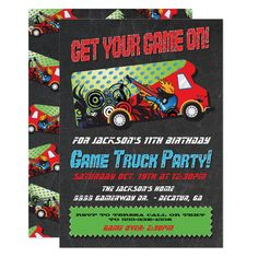 Shop Game Truck Party Invitations created by McBooboo. Personalize it with photos & text or purchase as is! Game Truck Party, Birthday Party Games, Birthday Party Invitations, 11th Birthday, Party Fun, Party Ideas, Pedicure Party, Video Game Party, Video Games