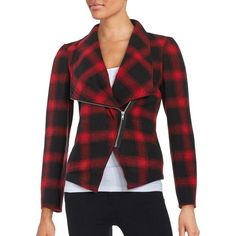 Bb Dakota Plaid Knit Moto Jacket ($110) ❤ liked on Polyvore featuring outerwear, jackets, motorcycle jacket, red biker jacket, knit biker jacket, rider jacket and bb dakota jacket