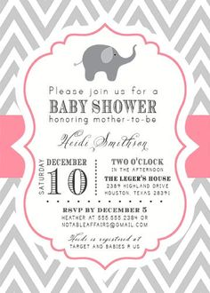 PRINTABLE Gray and Pink Chevron with Elephant Baby Shower Invitation - colors can be changed. $15.00, via Etsy.
