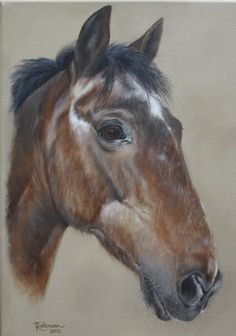 """'Snoopy'. Bay Welsh section D gelding by Tania Robinson. Private commission 2012. Acrylic on canvas 12"""" x 16""""."""