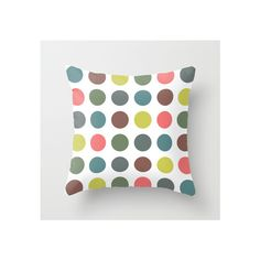 Retro Polka Dots Throw Pillow ❤ liked on Polyvore featuring home, home decor, throw pillows, polka dot throw pillows, polka dot home decor, retro home decor, retro throw pillows and retro home accessories