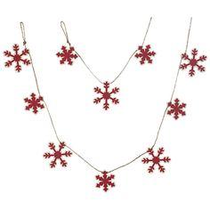 John Lewis Felt Wood Snowflake Garland, Red