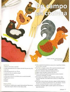 Artes by Rosa Natalia: Pano de Copa - Patch Aplique - Galo e Galinha com moldes