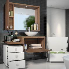 Armário para Banheiro com Espelheira, Balção para pia, Gaveteiro e Baú Vicenza 100% MDF Com Cuba Branco/Nogal Sevilha - Celta Móveis | Lojas KD
