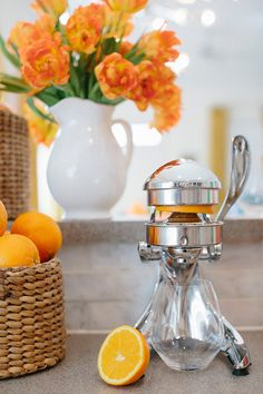#orange, #juicer  Photography: Millie Holloman Photography - millieholloman.com Design & Styling: Salt Harbor Designs - saltharbor.com/  Read More: http://www.stylemepretty.com/living/2013/04/16/setting-up-a-sunday-juice-bar/