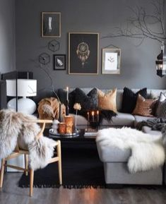 Awesome Stunning Winter Living Room Decor Ideas You Should Try 26 – All About Home Decoration Winter Living Room, Living Room Grey, Home And Living, Living Room Furniture, Modern Living, Dark Furniture, Small Living, Modern Furniture, Rustic Furniture