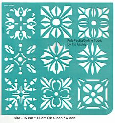 "Stencil Stencils Pattern Template ""Squares"" 6 inch/15 cm, reusable, adhesive, flexible, for polymer clay, fabric, wood, glass, card making"