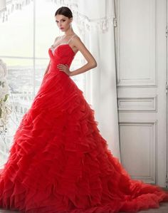 We offer the latest fashions of the wedding dress industry located in Tampa Bay Area! Red Wedding Gowns, Bridal Gowns, Lady In Red, Ball Gowns, Formal Dresses, Ethereal, Romantic, Colorful, Motto