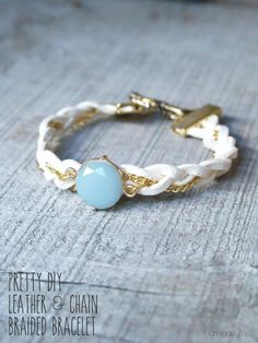 Pretty Leather and Chain Braided Bracelet