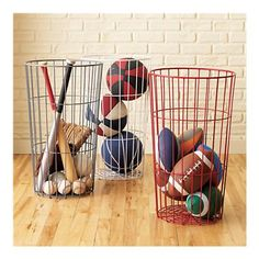 Wire Bins for storage. Great idea for all kinds of things including pool toys so they can dry! Wire Bins for storage. Great idea for all kinds of things including pool toys so they can dry! Kids Storage Bins, Sports Storage, Ball Storage, Toy Storage, Storage Containers, Wire Storage, Garage Storage, Storage Baskets, Storage Ideas