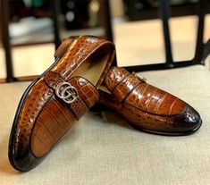 Men's alligator slip-On loafer for sale. The shoe artisans who handcraft these fine exotic skin shoes are veterans, some who have been making shoes by hand for generations. Tie Shoes, Shoes Men, Men's Shoes, Dress Shoes, Man Suit, Suit Up, Gucci Horsebit Loafers, Alligators, Mens Gear