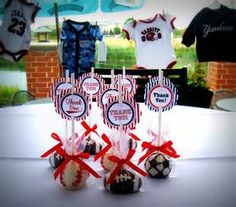 Image Detail For These Cake Pops Make A Cute And Unique Favor Sports Themed Baby Shower Chocolate Vanilla Are Covered In