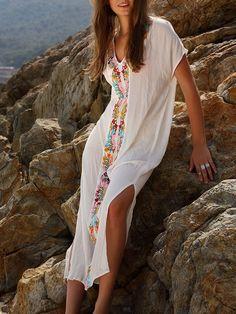 17b6545c24e90 White Embroidery V Neck Short Sleeve Placement Print Split Side Maxi Dress