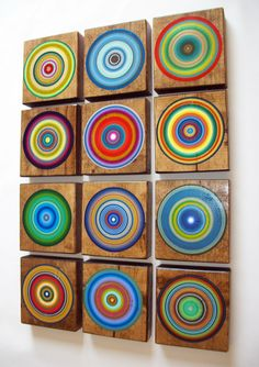 12 Rustic Modern Wall Art Mid Century Inspired Beautiful Dark Walnut Wood Art Blocks Custom Painted. $225.00, via Etsy.
